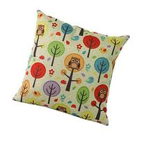 """Owls and Trees 18 """"X18 """"Cotton Linen Square Throw Pillow"""