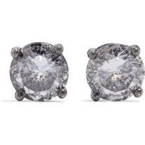 Bottega Veneta Oxidized silver cubic zirconia earrings