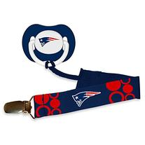 Baby Fanatic Pacifier with Clip, New England Patriots