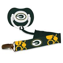 Baby Fanatic Pacifier with Clip, Green Bay Packers