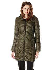 BCBGeneration Women's Packable Down with Hood, Army Green,