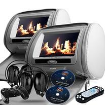 "New Pair Gray 9"" Headrest Dvd Player Monitors with Wireless"