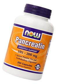 Now Foods Pancreatine  10X - 200mg , Capsules, 250-Count