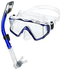 Phantom Aquatics Panoramic Scuba Mask Snorkel Set, Blue
