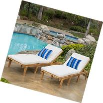 Paolo Outdoor Teak Brown Wood Chaise Lounge with Cushion