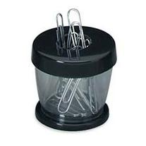 Paper Clip Dispenser, Magnetic, Clear/Black, Sold as 1 Each