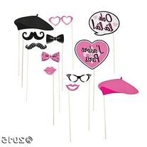 Paper Pink Paris Photo Booth Stick Props - 12 pcs by Party