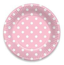 LolliZ 7 in. Paper Plates. Pink & Polka Dots, 12- Pieces