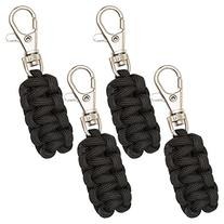 Paracord Zipper Pulls 4 Pack - Black   Metal Hook Thin