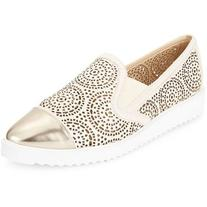 Karl Lagerfeld Paris Cora Cutout Metallic Leather Slip-On