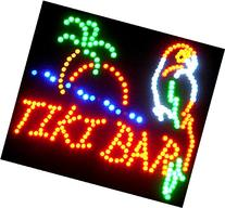 Parrot Tiki Bar Neon LED Flashing Sign with Palm Tree and