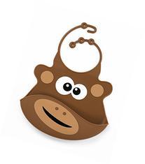 Primo Passi Silicone Bib - Brown Monkey Big Eyes