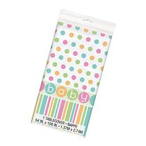 """Pastel Baby Shower Plastic Tablecloth, 84"""" x 54"""