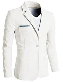 H2H Mens Pastel Color Slim Fit Blazer Jackets with Pocket