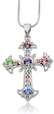 Pastel Yellow, Blue, Pink, Purple, Green Crystal Cross