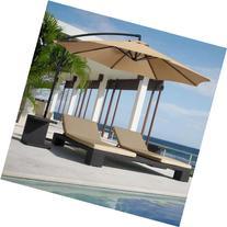 Patio Umbrella Offset 10' Hanging Umbrella Outdoor Market Umbrella New Tan