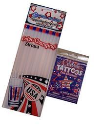 Patriotic Color Changing Straws Plus Temporary Tattoos