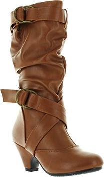 Pauline-39K Jr Girls Slouch Buckle High Heel Mid Calf Boots,