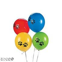 Paw Print Latex Balloons - 12 ct