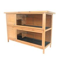 Pawhut 2 Story Stacked Wooden Outdoor Bunny Rabbit Hutch/
