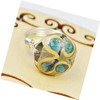 Peacock Blue Lampwork Glass Bead and Sterling Silver or Gold