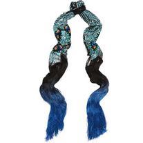 Rockins Peacock Eyes fringed sequin-embellished tulle scarf