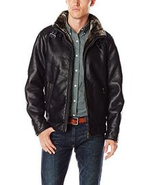 Calvin Klein Men's Pebble Leather Moto Jacket with Shearling