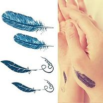 Personality Feathers Quill-pen Feather Pen Tattoo Stickers