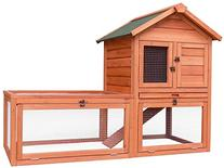 Merax Natural Wood Color Wooden Pet Rabbit Hutch House with