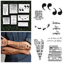 Tattify Peter Pan Books & Quotes Temporary Tattoo Pack  Long