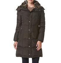 London Fog® Petites' Diagonal Seaming Coat With Faux