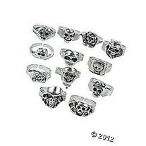 Pewter Finished Skull Rings/Pirate Rings-1 Dozen/Pirate