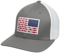 Columbia PFG Mesh Ball Cap, Titanium/Fish Flag, Large/X-
