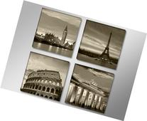 "Pictures on canvas 6604 length 4 x 12"" height 12"" cities"