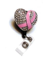 Pink Breast Cancer Rhinestone Badge Reel/ Retractable