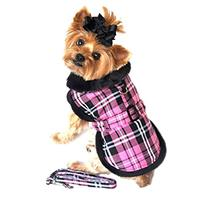 Doggie Design Pink Classic Plaid Wool/fur Collared Harness