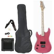 Pink Full Size Electric Guitar with Amp Case Strap Cord