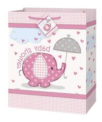 Large Pink Elephant Girl Baby Shower Gift Bag