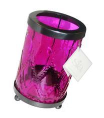 Medium Pink Glass Pillar Lantern