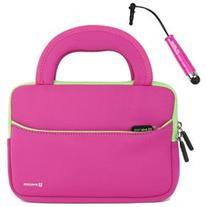 Evecase Small Hot Pink / Green Tablet Neoprene Zipper Case