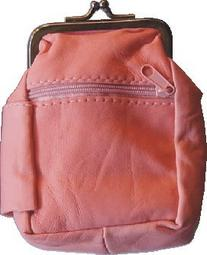 Pink Lamb Skin Leather Cigarette Case with 2 Zipper Pouches