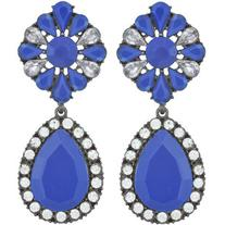 Pink Pave Electric Blue Crystal Drop Earrings