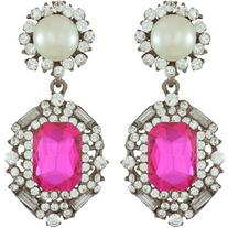 Pink Pave Pink Pearl Drop Earrings
