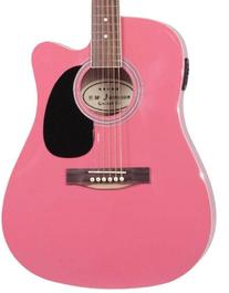 Pink Full Size Thinline Acoustic Electric Guitar With Free