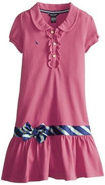 Nautica Big Girls' Pique Polo Dress with Gold Buttons, Pink