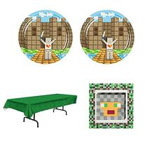 Pixel Medieval Miner theme Birthday Party Set - 16 guests -