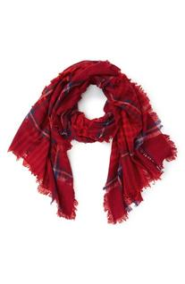 Women's Madewell Plaid Wool Scarf, Size One Size - Red