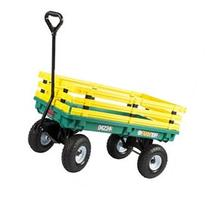 Farm Tuff Plastic Deck Wagon Green with Yellow Removable Racks, 20-Inch by 38-Inch