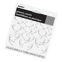 "26"" Plastic Hanging Swirl Silver Decorations, 8ct"