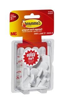 Command Small Utility Hooks, White, 6-Hooks